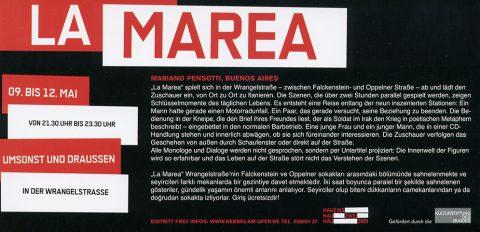"""Theaterstück des argentinische Regisseur Mariano Pensotti """"La Marea"""" in der Wrangelstraße 2007 - Werbeflyer Rückseite"""