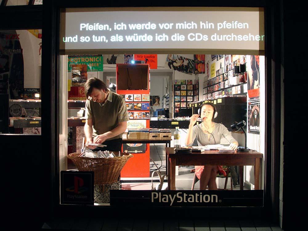 Eine Szene des Stückes spielte bei Silver Disc im Geschäft