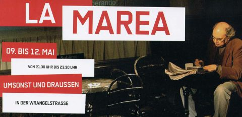 """Theaterstück von Mariano Pensotti """"La Marea"""" in der Wrangelstraße 2007 - Werbeflyer Vorderseite"""